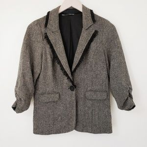 Maurices Tweed Wool Fringed 3/4 Sleeve Blazer M
